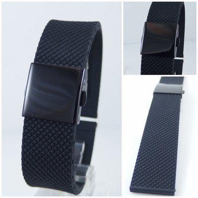 【錶帶家】Oris BC款式(非原廠)可代用各廠牌錶矽膠錶帶膠帶黑色PVD錶扣可裝 24mm 23mm 菱格紋交叉胎紋