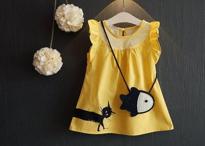 蜜寶貝✿ 送背包 中小女童8066 裙子小魚背包公主裙洋裝 尺寸90-130CM 0021