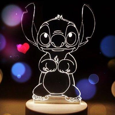 ❤現貨❤陪妳/你入眠情境小夜燈❤史迪奇 小美人魚 艾莉兒 usb 3D 北歐 LED 小夜燈  實木底座