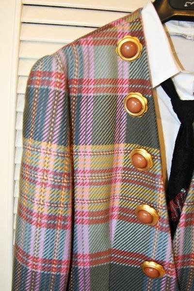 義大利【gai mattiolo】蓋‧馬蒂奧洛大彩石花朵圓扣格紋學院風西裝上衣外套