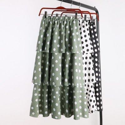 正韓 窄裙 OL 正裝裙 百褶裙D199 季新款高腰顯瘦波點層層蛋糕裙韓版 中長款小清新裙子女