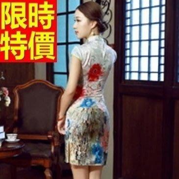 旗袍 短禮服-唐裝 優雅荷花包邊低開叉古典中式女連衣裙1色65o9[獨家進口][米蘭精品]
