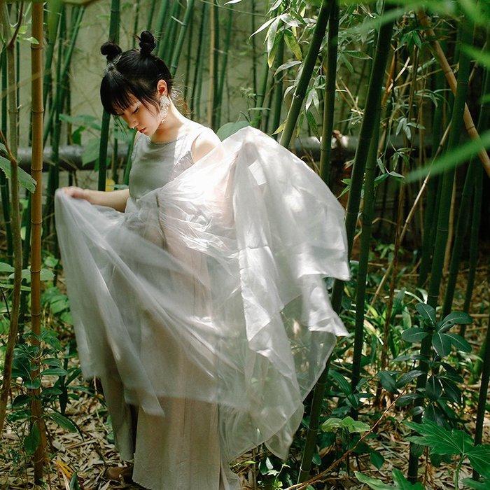 *菇涼家*原创設計自制修身網纱蓬蓬裙大裙摆多層仙女連衣裙灰