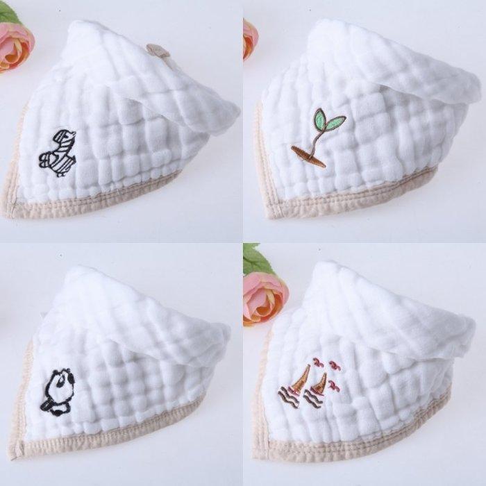 嬰兒圍頭 嬰兒三角巾寶寶口水巾棉質紗布六層按扣圍嘴兜
