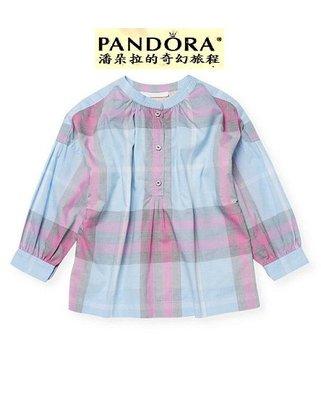 Burberry Shirt 藍色格紋棉質斜紋襯衫女S號(童14Y)