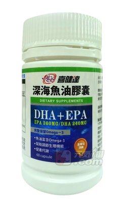 【元氣一番.com】《喜健達 頂級高單位深海魚油-60顆入---美國進口 每顆含EPA360mg DHA240mg》