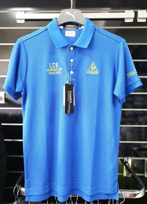 (易達高爾夫) 全新原廠 le coq sportif TQG2991 藍色 男短袖上衣