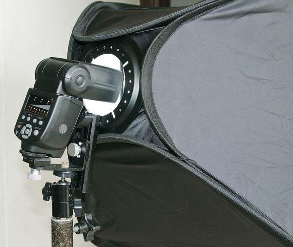 呈現攝影-專業柔光設備 折疊式 60X 60cm 外接閃光燈專用無影罩,含外接閃光燈架(傘座/關結)