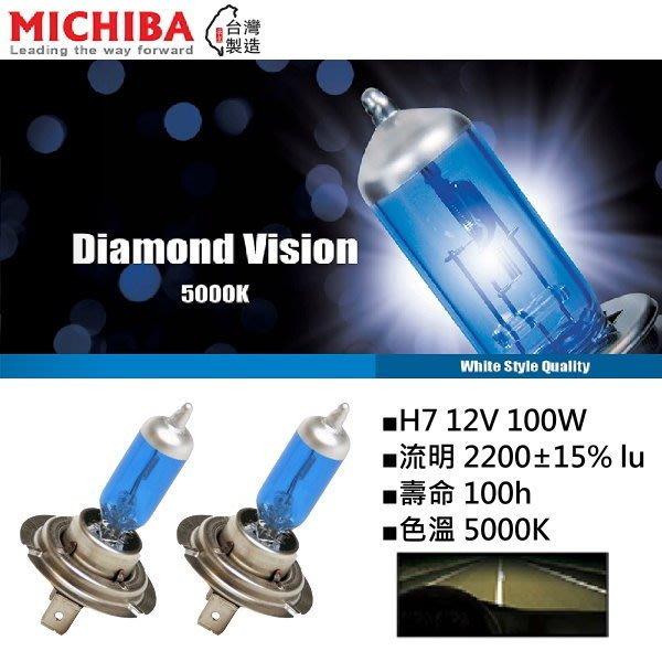 和霆車部品中和館—台灣MICHIBA 色溫5000K 規格H7 12V 100W 超白光鹵素燈泡(1組2顆入)