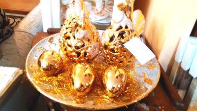 藝屋~新款 皇室風格 金雞 公母雞 金雞蛋 附贈金瓷盤