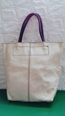 米白色 全真皮 (真品) 手提包包