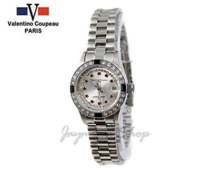 【JAYMIMI傑米】Valentino范倫鐵諾古柏不鏽鋼腕錶-紅鑽框女石英鑽錶 特價850 保固
