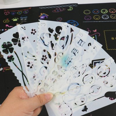 小賴的店--個性diy相冊 主題花邊尺制作手工材料繪畫畫鏤空模板配件裝飾工具