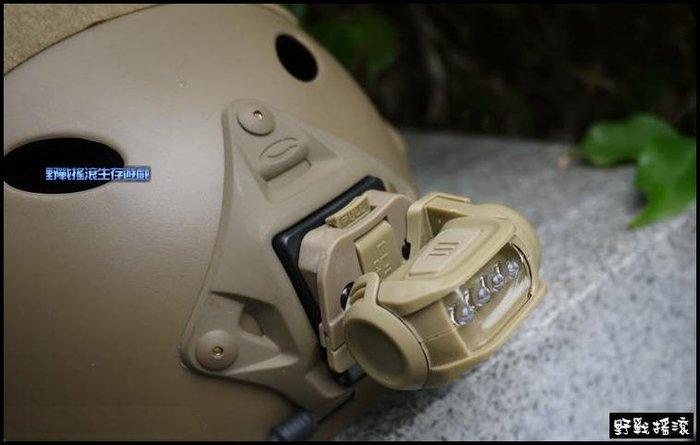 【野戰搖滾-生存遊戲】黑洞戰術頭盔專用 LED 電筒頭燈含轉接座【沙色】C款 Fast 盔照明燈頭盔燈OPS盔
