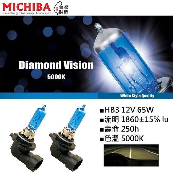 和霆車部品中和館—台灣MICHIBA 色溫5000K 規格HB3/9005 12V 65W 超白光鹵素燈泡(1組2顆入)