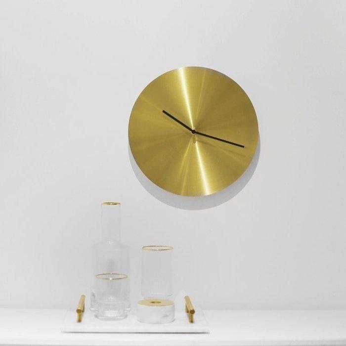 【Uluru Design】北歐輕奢風格 黃銅色掛鐘 掛鐘 時鐘 簡約 圓形 造型 鐘 傢飾