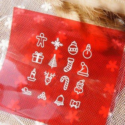小原屋◕‿◕聖誕包裝-紅色經典圖案聖誕10*10餅乾袋 小蛋糕袋 點心袋 包裝袋-50入