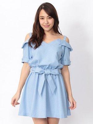 全新 CECIL McBee 日本專櫃正品 淺藍色 帶領式條紋綁帶露肩短袖洋裝 連衣裙