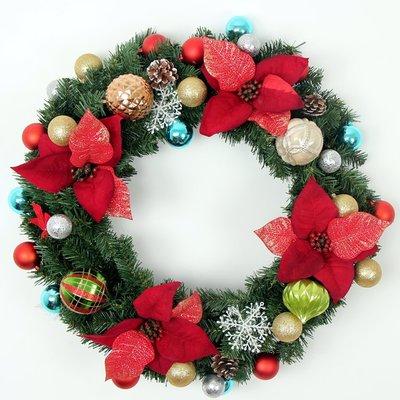 聖誕花環50CM60CM80CM聖誕節裝飾品套餐聖誕樹花圈門掛飾吊件掛件