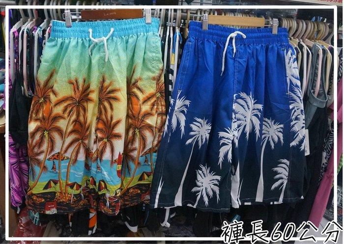 KINI繽紛*大男海灘褲/休閒褲-長版褲長60公分-輕薄速乾[38腰以下]-藍/彩海灘風-特價一件139元