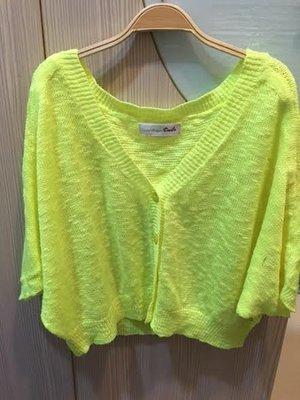 小花別針、專櫃品牌【dailo】螢光綠寬鬆針織罩衫外套