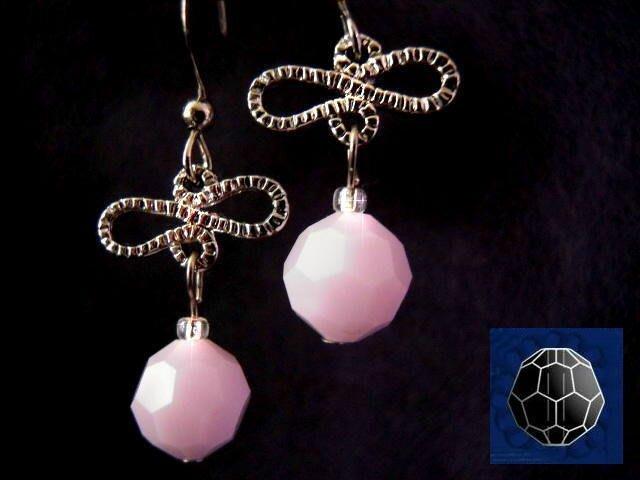 ※水晶玫瑰※ SWAROVSKI 8mm水晶珠 耳勾式針式耳環(DD342)~出清~三對免郵