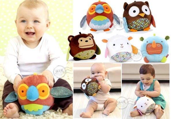 媽咪家【N015】N15動物球 安撫球 抱抱球 可愛 動物 鈴噹 玩偶 可掛嬰兒床/推車~刺激聽/視覺