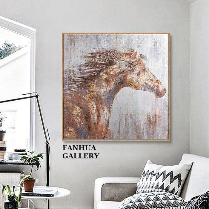 C - R - A - Z - Y - T - O - W - N 純手繪立體油畫簡約美式復古銅駿馬招財立體油畫方形掛畫