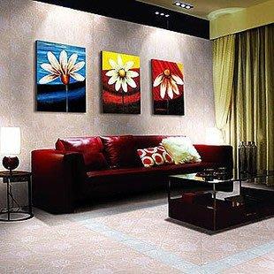 INPHIC-油畫小野菊客廳無框畫三聯畫臥室裝飾畫現代簡約壁畫沙發