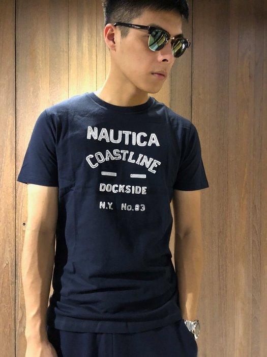 美國百分百【全新真品】Nautica T恤 帆船牌 T-SHIRT 上衣 短袖 貼布 logo 男款 深藍 J077