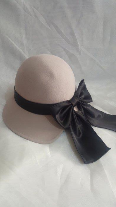 SR 100%羊毛帽 毛呢帽 緞面蝴蝶結呢帽 芋紫色