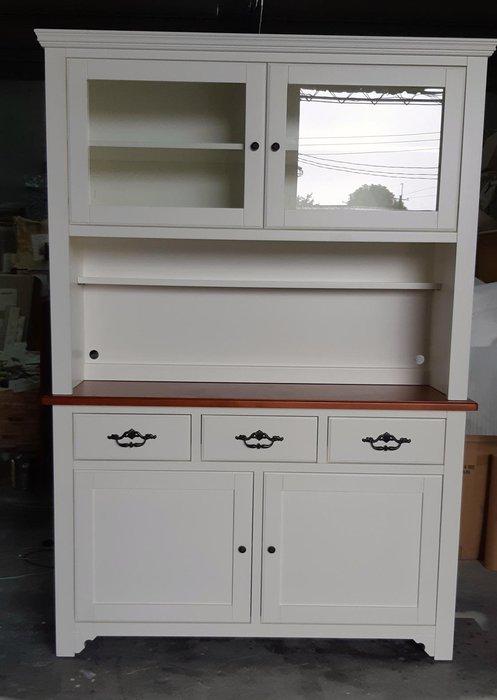 美生活館 --- 家具訂製 客製化  美式鄉村 實木 雙色 銅柚色+百合白  餐盤櫃.書櫃.餐櫃.置物櫃.收納櫃