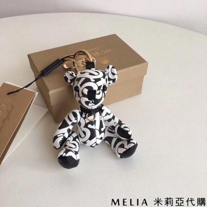 Melia 米莉亞代購 商城特價 數量有限 巴寶麗 飾品 吊飾 泰迪熊 包包掛件 鑰匙圈 英倫風情 B紋 白色