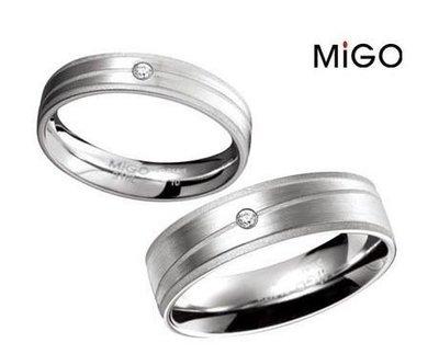 (Hueibe Shop)高質感米格Migo鋼飾心琁白鋼情人戒指天然鑽石霧亮面SRD460-9