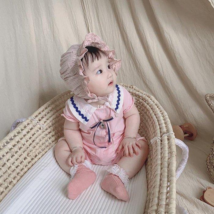 『薄荷小苑』 IDEA童裝2020夏潮新款嬰兒連體衣女寶寶短袖哈衣棉爬爬服0-3-6-9月