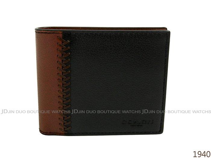 金鐸精品~1940 COACH F75170 黑駝色皮革紋8卡證件 短夾 全新品