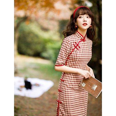 旗袍格子旗袍年輕款少女年春秋新款復古夏季女日常可穿改良連衣裙