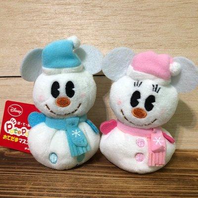 尼德斯Nydus 日本正版 迪士尼 Q版 TSUM 冬季 聖誕節限定 雪人版 米奇 米妮 11x7x5cm
