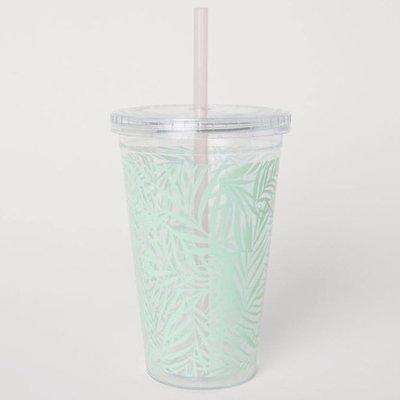 正品 H&M plastic mug with straw[熱帶綠葉]