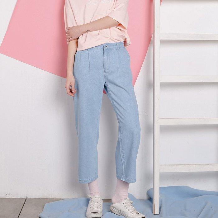SeyeS fruits街頭個性簡約自然風淺藍牛仔七分直筒褲