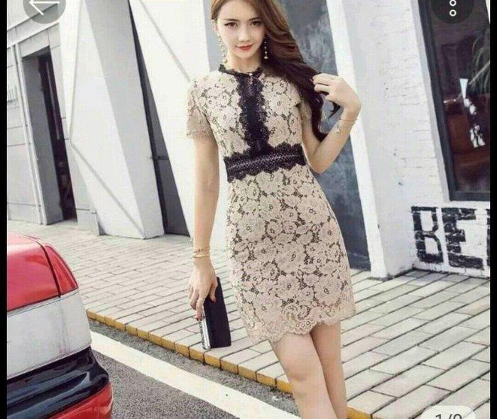 韓版 法式 蕾絲 短袖 洋裝 小香風 拼色 連身裙 修身 顯瘦 宴會 派對 婚禮 活動 主持 Me Gusta