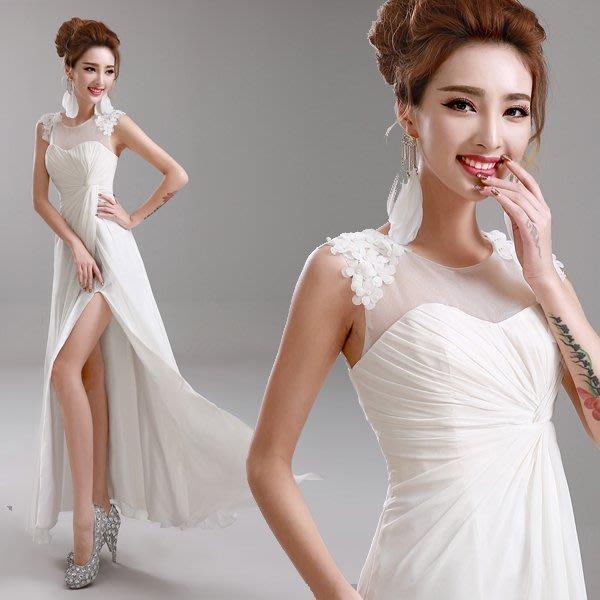大小姐時尚精品屋~~白色新娘伴娘晚宴長禮服~~3件免郵