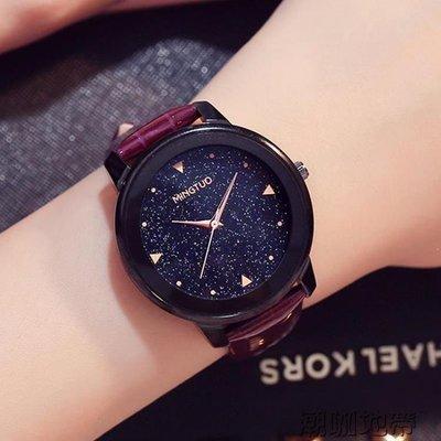 YEAHSHOP 新款時尚女士大錶盤面星空手錶女韓版簡約休閒學生防水石英錶106955Y185