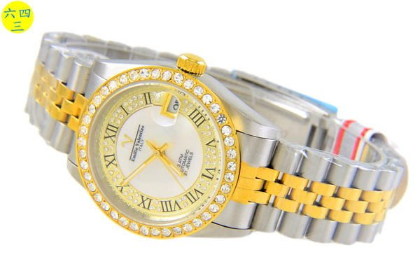 (六四三精品)范侖鐵諾(真品)中金自動上鍊機械鑽錶.水鑽面盤及外框.錶背鏤空...
