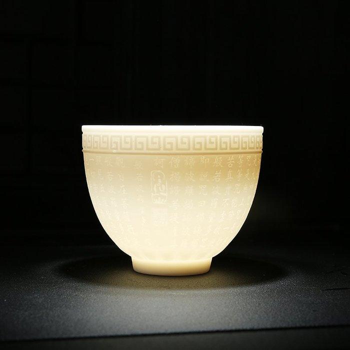 【弘慧堂】 般若心經 品茗杯創意佛教用品玉瓷茶杯供佛水杯辦公大悲咒經文白杯