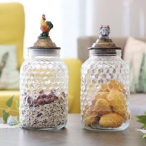 歐美風公雞大象玻璃罐  玻璃密封儲物罐零食雜糧罐裝飾擺設_☆找好物FINDGOODS☆