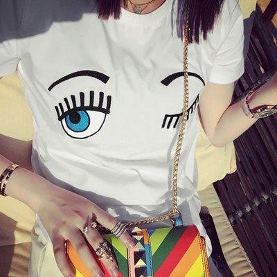 T恤 歐美流行刺繡逗趣大眼睛圖案T恤【U2898】☆雙兒網☆