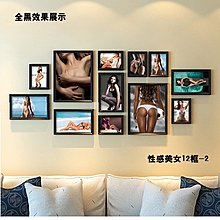 酒吧裝飾畫性感美女壁畫衛生間掛畫簡約現代KTV框畫海報組合相框(4組可選)