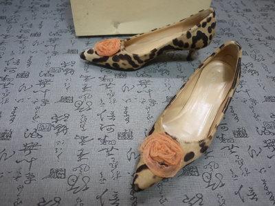 義大利製 L'AUTRE CHOSE 高級豹紋真皮中跟鞋 USA 5.5 EUR 35.5 JPN 22.5 CM