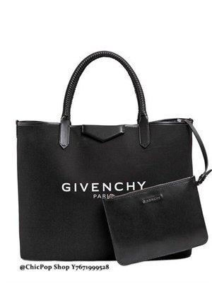 【ChicPop】 GIVENCHY Larger antigona 棉+皮革 手提包 托特包 16秋冬款 黑色